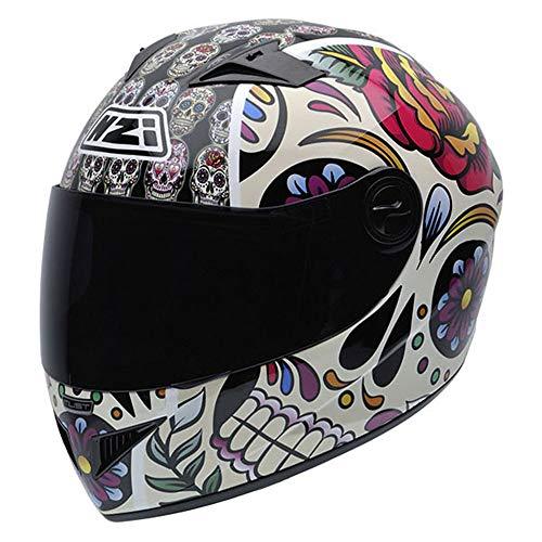 NZI Must II Grafik Volles Gesicht Motorradhelm, Glanz Mexikanische Totenköpfe, Größe L