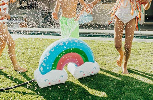 Bling 2O Rainbow Inflatable Water Sprinkler - Outdoor Water Spray Sprinkler Attaches to Any Garden Hose - Blows Up to 20 Inches (Pump Included)