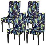 Juego de 4 fundas de silla para comedor, diseño de libélula, de acuarela, lavable, protector de asiento extraíble para cocina, hotel, restaurante, fiesta ceremonia