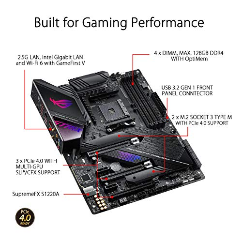 ASUS ROG Strix X570-E Gaming ATX Motherboard- PCIe 4.0, Aura Sync RGB Lighting, 2.5 Gbps and Intel Gigabit LAN, WIFI 6 (802.11Ax), Dual M.2 Heatsinks