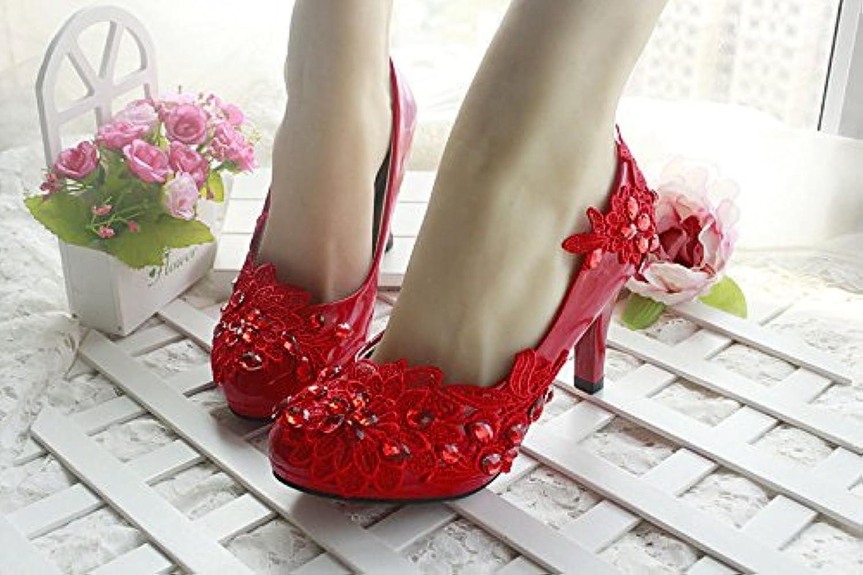 JINGXINSTORE Diamant rote Blaume Hochzeit Braut Schuh High Heel Mary Abend Spitze  | Online