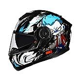 BUETR Off-road casco protector al aire libre moto bicicleta casco eléctrico casco de equitación casco deportivo-azul alien (espejo antiniebla blanco) _M