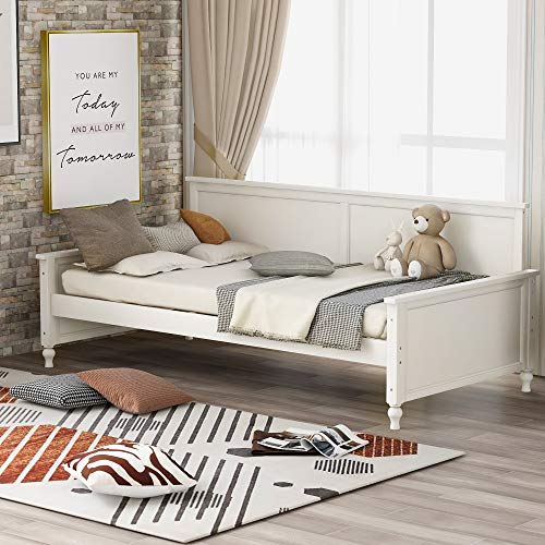 Merax Twin Daybed Frame Wooden Daybed Sofabed,Wooden Slat Support, No Box Spring Needed