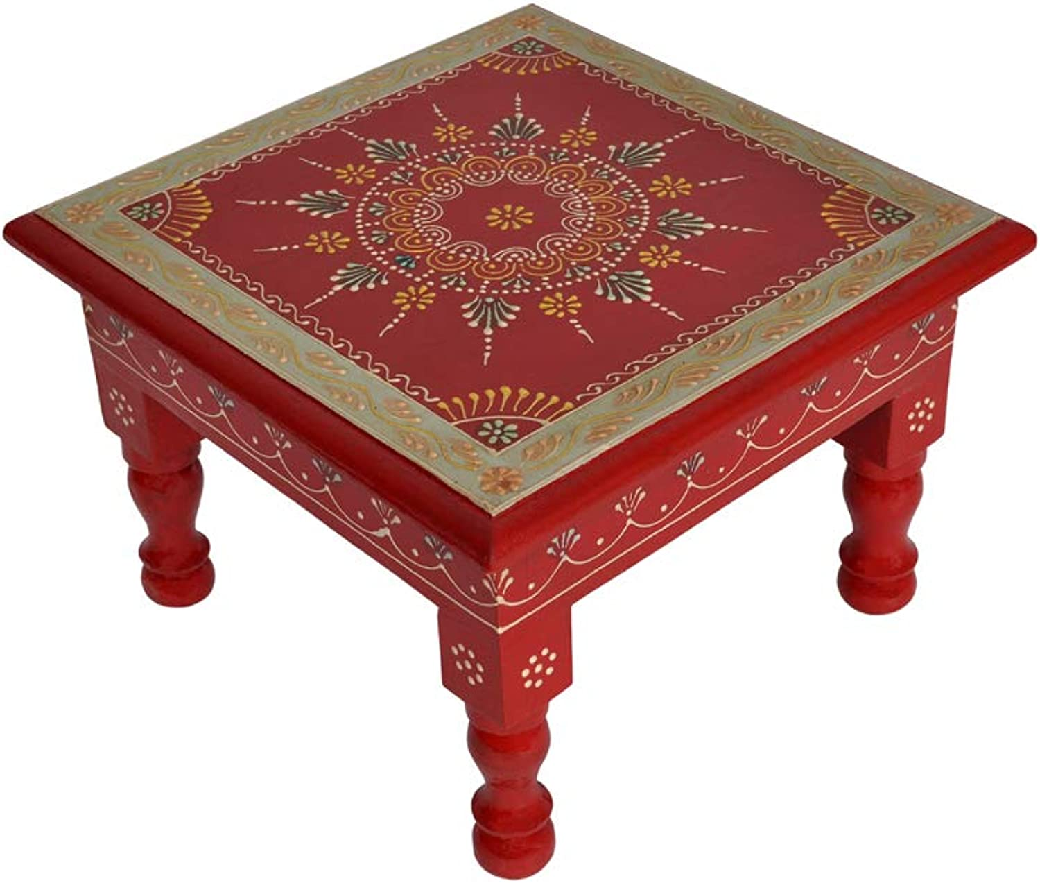 Lalhaveli Ethnic Handpained Work Design Indian Wooden Decorative Stool End Table 9 X 9 X 5.5 Inches