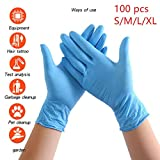 Caja de 100 guantes de goma desechables, cómodos, sin látex, hipoalergénicos y resistentes al desgaste, aptos para manipulación de alimentos, limpieza, belleza, múltiples usos