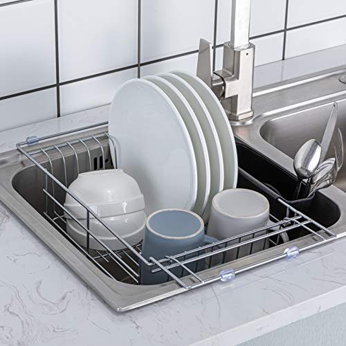 PremiumRacks Expandable Over the Sink Dish Rack - 304 Stainless Steel - Durable