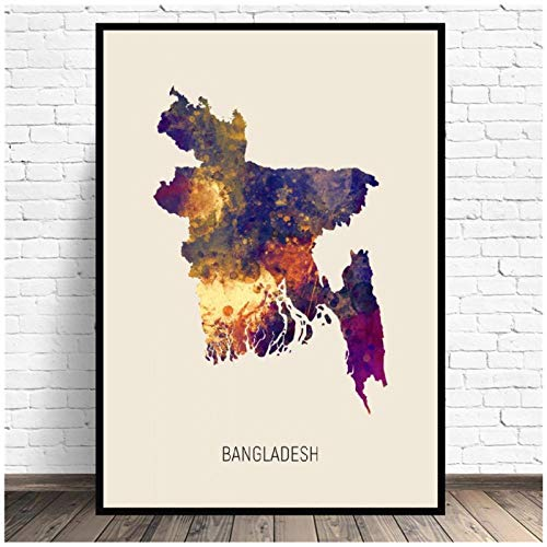 YGACJ Watercolor Map Bangladesh Canvas Wall Art Print Modern Poster Wall Pictures Living Room Decor- 50x70cm /unframed