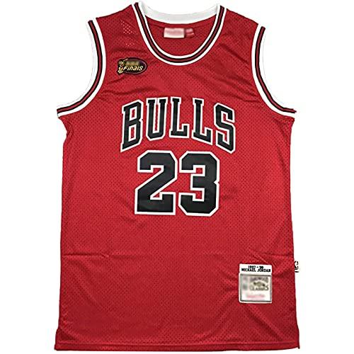 CYQQ Michael Jordan Jersey # 23 de Baloncesto con Logotipo de la Final, Bulls Hombres Classic Retro Swingman Jerseys,Cómodo Camiseta roja, Camiseta de Fan(Size:M,Color:A2)