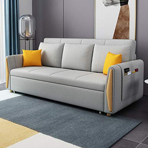 SND-A Modern Sofa Couch Bed, Multifunctional Folding Loveseat Sleeper Pull Out Futon Couch,Soft And Comfortable Fabric Sofa Convertible Bed Furniture for Living Room Apartment,Washable,Gray,2.1M