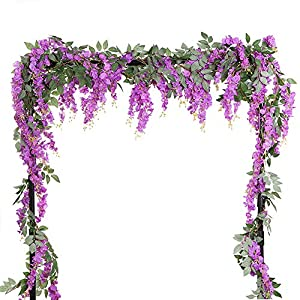 HOMDECO 5.6 Feet/pcs Artificial Silk Wisteria Vine Rattan Silk Hanging Flower Garland Ivy Plants for Outdoor Wedding Party Home Garden Wall Decoration,Pack of 4