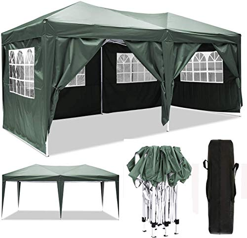 Oppikle 3x3m /3x6m Garden Gazebo Marquee Tent with Side Panels, Fully Waterproof, Powder Coated Steel Frame for Outdoor Wedding Garden Party (3 * 6/m Green)