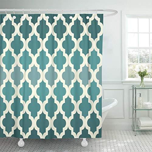 JOOCAR Design-Duschvorhang, buntes Muster, marokkanische Smaragdtöne, grün, marokkanisch, orientalisch, wasserdichter Stoff, Badezimmer-Dekor-Set mit Haken