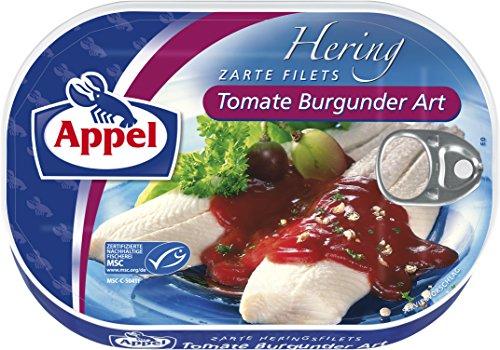 Appel Heringsfilets Tomate Burgunder Art, 10er Pack Konserven, Fisch in Tomatencreme mit Rotwein