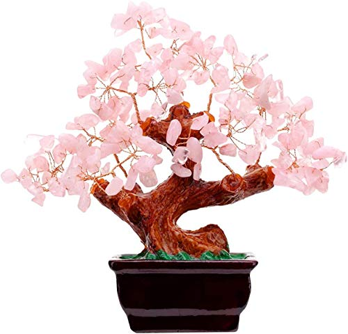 Feng Shui Natural Rose Pink Quartz Crystal Money Tree Bonsai Style Decoration for Wealth and Luck Decoration