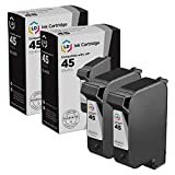LD Remanufactured Ink Cartridge Replacements for HP 45 51645A (Black, 2-Pack)