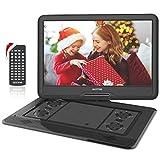WONNIE - Reproductor de DVD portátil con pantalla de rotación de 15,6 pulgadas, 1366 x 768 HD, batería 5600 mAh 6 horas, sonido estéreo, sin regiones, USB & SD/AV Out & in (negro)