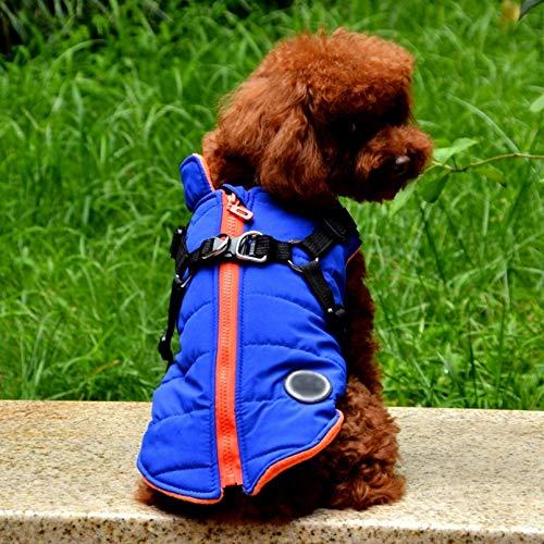N/A Ropa para Perros Mascotas Mascota Perro Chaleco Arnés Invierno Pequeño Perro Abrigo Mascota Chaleco Traje Ropa De Abrigo Arnés Chaqueta Collar De Perro Apto para Uso Diario