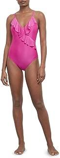 Women's V-Neck Ruffle Front Halter One Piece Swimsuit