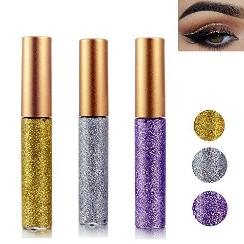 Eyeliner Glitter Liquid Eyeshadow 3 Color Metallic Glitter Sparkling Eyeliner Face Eye Cosmetic Glow Shimmer Makeup Glitter Eyeshadow Liquid Long Lasting Eyeliner Eye Shadow Gold,Silver and Purple