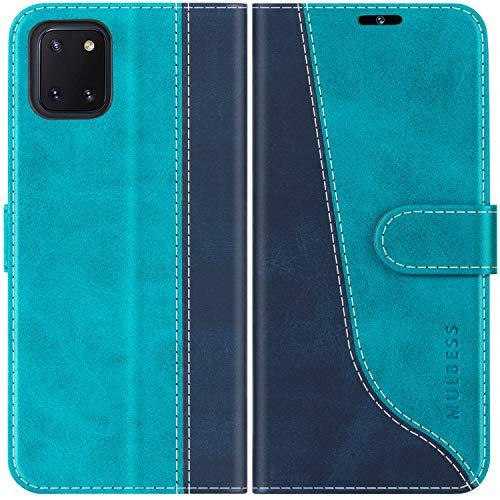 Mulbess Handyhülle für Samsung Galaxy Note 10 Lite Hülle, Samsung Note 10 Lite Hülle Leder, Etui Flip Handytasche Schutzhülle für Samsung Galaxy Note 10 Lite Hülle, Mint Blau
