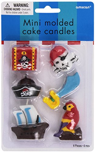 Amscan International Pirate Treasue Mini Moulded Candles, Pack of 6