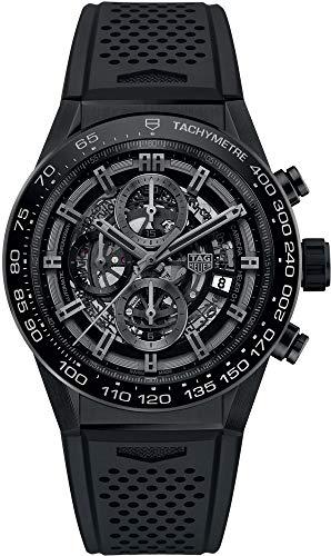 TAG Heuer Carrera CAR2A90.FT6071 Herren-Armbanduhr, schwarzes Skelett-Zifferblatt, 45 mm