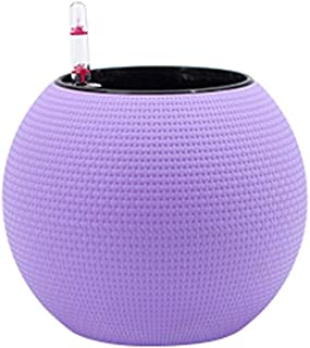 QIANZICAI Creative Imitation Rattan Automatic Water-absorbing Flower Pot, Indoor Round Spherical Plastic Flower Pot Lightweight And Rugged Cold (Color : Purple)