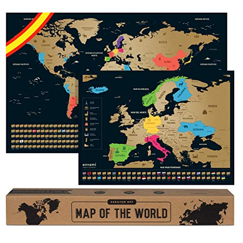 Mapa Mundi Rascar I Espaol I Ms el mapa de Europa I Mapas del Mundo para Marcar Viajes I 68 X 43 CM...