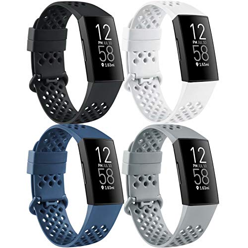 Mugust 4 Pack Sport Bands Compatible with Fitbit Charge 4 / Fitbit Charge 3 / Charge 3 SE, Silicone Breathable Replacement Wristband for Women Men, Black/Navy Blue/White/Gray, Small