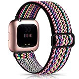 Witzon Elastic Bands Compatible with Fitbit Versa 2 / Versa / Versa Lite, Soft Loop Nylon Fabric Breathable Stretchy Replacement Straps for Versa Smartwatch Wristband for Women men, Colorful Rope