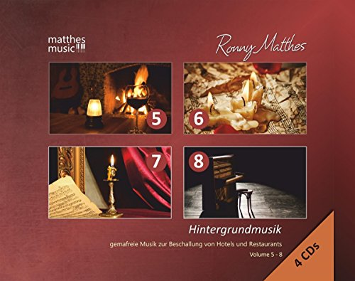 Hintergrundmusik - Gemafreie Musik zur Beschallung von Hotels & Restaurants, 4 CD-Box - Vol. 5 - 8; (Klaviermusik, Jazz & Barmusik) - Background Music (Piano Music)