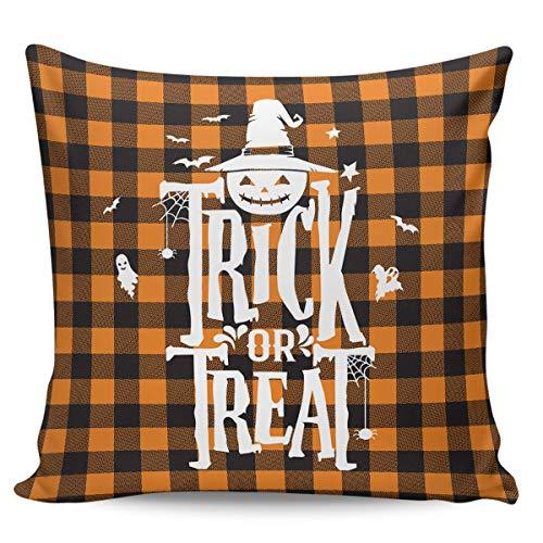 Scrummy Fundas de almohada de 66 x 66 cm, diseño de cuadros de búfalo, color naranja, color negro, para decoración del hogar