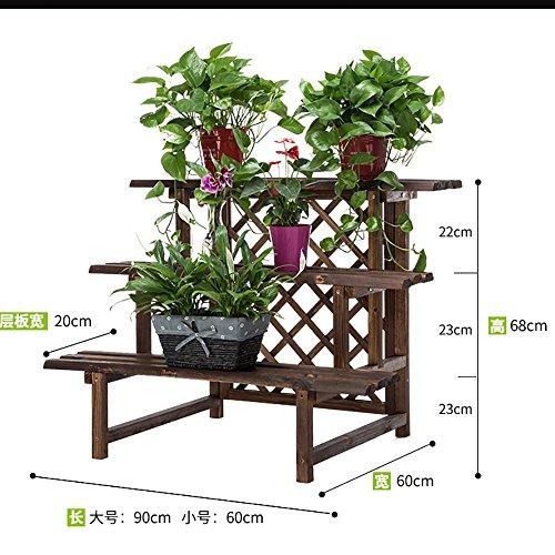 LLLXUHA Bois massif Multi-couche étape par étape Support de fleurs, intérieur Type de plancher Étagère de rangement, balcon Anti-corrosion Plantes charnues Présentoir , Couleur de carbone , 90*60*68cm