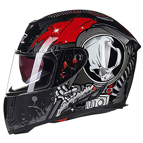 Leaf&Y Modularer Klapphelm für Motorräder, Offroad-Motorroller, Integralhelm mit Doppelvisier, Personality-Motocross-Helme für Vier Jahreszeiten,L