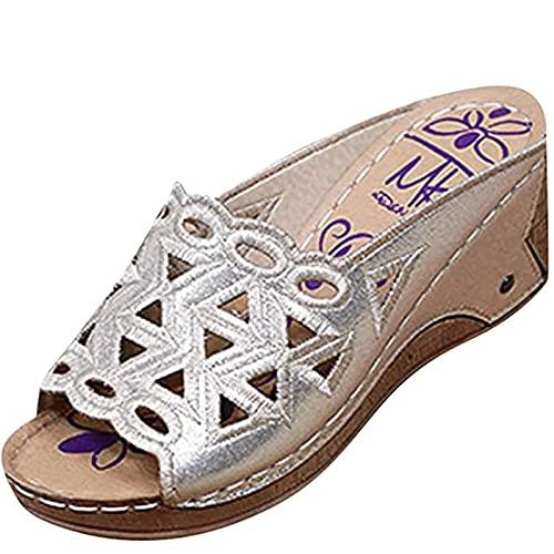 Sandalias de mujer con plataforma para mujer y niña, sandalias con tacón de cuña, sandalias romanas, sandalias con cuña, zapatos abiertos, zapatos de ocio, elegantes zapatos de verano