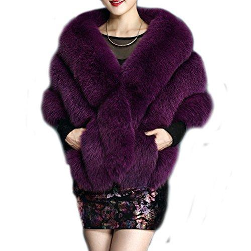 FOLOBE Boda Faux Piel Nupcial Bufandas Chaqueta Chaqueta de Mujer Espesar Faux Piel Envuelto Abrigo chales Poncho Caliente para el Vestido de Boda de Invierno