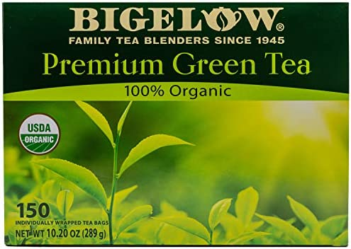 Bigelow Premium 100 Percent Organic Green Tea 150 Count Box Individually Wrapped Teas product image