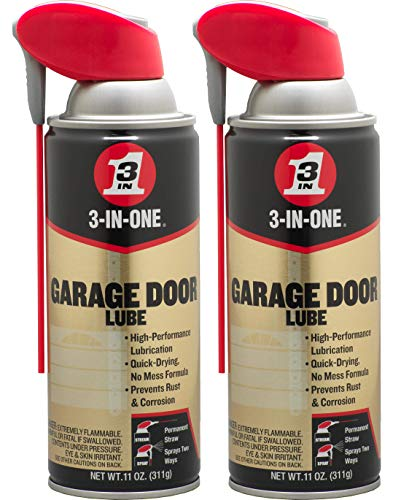3-in-ONEProfessional Garage Door Lubricant with Smart Straw Sprays 2 Ways, 11 OZ Twin Pack, 100584