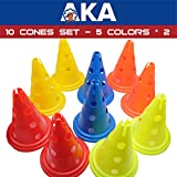 AKA Sports Gear Aglity Cone with Holes 10 Pack Multiple Color - 30cm Height