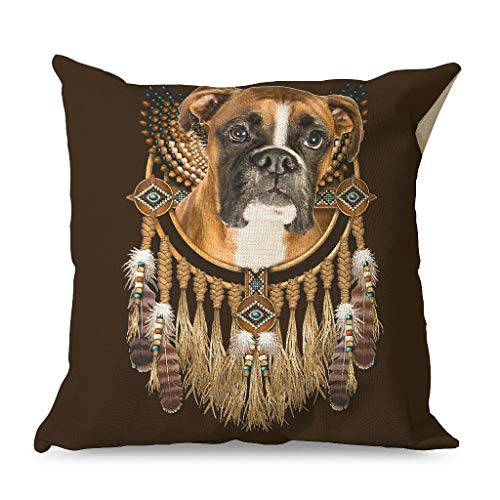 Daiyyjunn Boxer Dog Dreamcatcher Pillowcase Printed Square Ultra-Soft Pillow Cover for Farmhouse use in Body Pillow with Hidden Zipper white 45x45cm