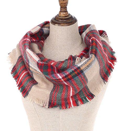 Preisvergleich Produktbild Kaschmir Warm Plaid Print Infinity Schal Damen Muster Herbst Winter Schals