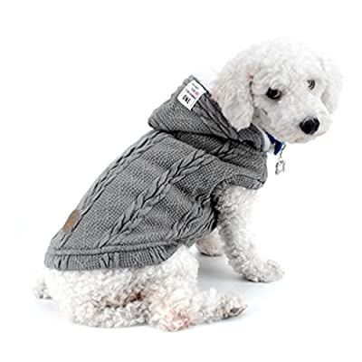 smalllee_lucky_store Knitted Dog Clothes Jumper with Hood Warm Hoodie Jacket Coat for Small Dogs Grey S