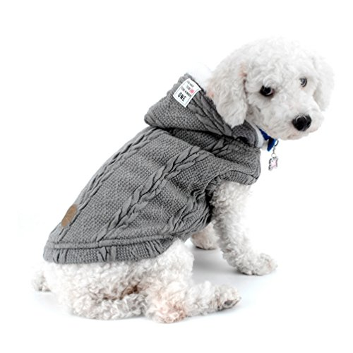 SMALLLEE_LUCKY_STORE Chaqueta de suéter para perros Chaqueta de clima frío Chaqueta para perros con capucha Chihuahua Ropa de invierno para perros pequeños Ropa de abrigo Gris XXL