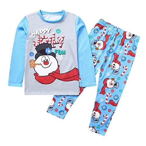 Balock Weihnachten Schlafanzug Familie Nachtwäsche Mutter Vater Kinder Mädchen Winter Pyjamas Outfit Santa Nachthemd Hose Schneemann Lang Sleepwear Anzug Festliche Homewear (Kinder, 2T)