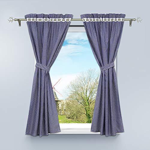 HongYa 4-TLG. Set Karo-Muster Vorhangschals Küche Gardinen Vorhänge mit Raffhalter H/B 120/80 cm Blau