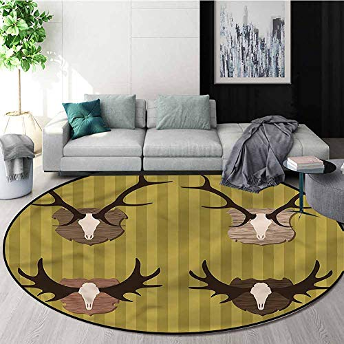 New RUGSMAT Hunting Modern Machine Washable Round Bath Mat,Deer Mous Horns Trophy Living Room Bedroo...
