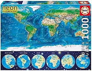 Educa Children's 1000 Neon World Map Puzzle
