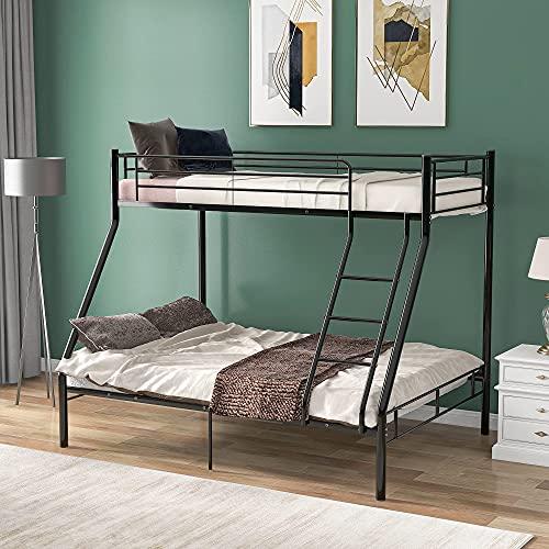 Litera de metal de 3 pies individual de 4 pies con marco de cama de metal doble, litera para habitación de niños, dormitorio (negro)