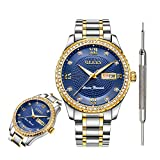 OLEVS Blue Watches for Men Waterproof Diamond Inexpensive Luxury Watches for Men Calendar Date...