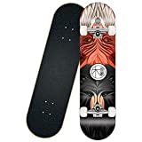 Skateboard,Mini Cruiser,80 x 20 cm,8 Capas Madera de Arce,Completo Patineta,Patinete Retro,Longboard,Tabla de Skateboard,Doble Patada Cóncava,para Adolescentes Principiantes Niñas Niños Adultos